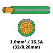 DBG Single Core Thin Wall PVC Auto Cable 1.0mm² (16.5A) - Green/Slate Grey