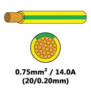 DBG Single Core Thin Wall PVC Auto Cable 0.75mm² (14.0A) - Yellow/Green