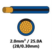 DBG Single Core Thin Wall PVC Auto Cable 2.0mm² (25.0A) - Blue/Black