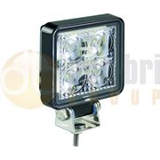 LED Autolamps 7312 Compact Square 4-LED 489lm Reverse/Work Flood Light Black 12/24V - 7312BM