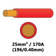 DBG PVC Flexible Battery/Starter Cable 196/0.40 25mm² 170A - RED