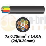 DBG 7 Core Thinwall PVC Automotive Cable 7x 24/0.20 0.75mm² 14.0A - 100m - 540.4701HT/100B