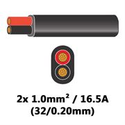 DBG 2 Core Thinwall PVC Automotive Flat Cable 2x 32/0.20 1.0mm² 16.5A - BLACK (Black/Red) - 100m