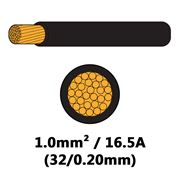 DBG Single Core Thin Wall PVC Auto Cable 1.0mm² (16.5A) - Black