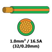 DBG Single Core Thin Wall PVC Auto Cable 1.0mm² (16.5A) - Green/Orange