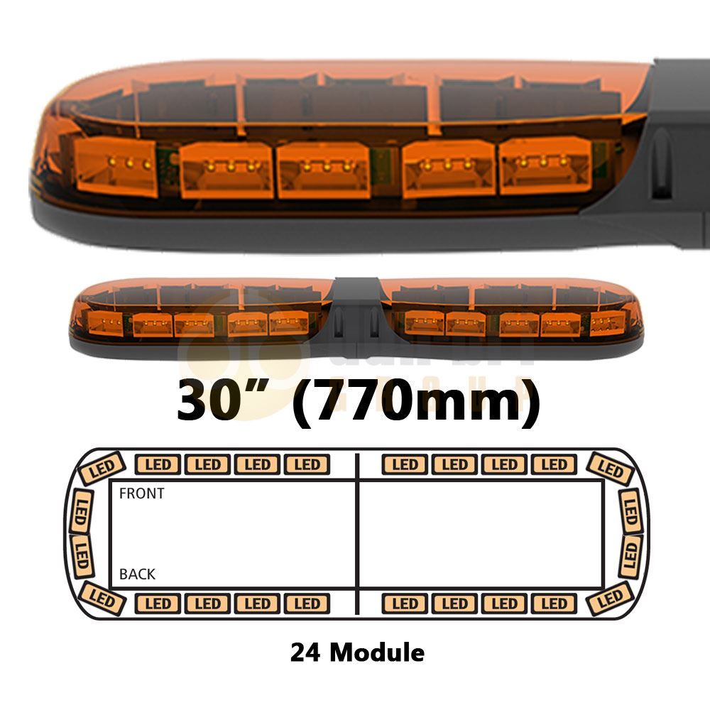 ECCO 13-00001-E 13 Series 770mm AMBER/AMBER 24 Module LED Lightbar R65 12/24V