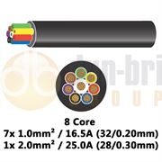 DBG 8 Core Thinwall PVC Automotive Cable 7x 32/0.20 1.0mm² 16.5A / 1x 28/0.30 2.0mm² 25.0A - 100m - 540.4802HT/100B