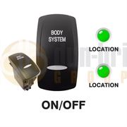 Carling 273.298 V-SERIES CONTURA V Rocker Switch 24V ON/OFF DP 2xLED GREEN/GREEN with 'BODY SYSTEM' Text + BAR