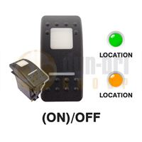 Carling 273.060 V-SERIES CONTURA II Rocker Switch 12V (ON)/OFF SP 2xLED GREEN/AMBER with SQUARE LENS + BAR
