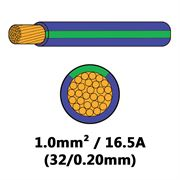 DBG Single Core Thin Wall PVC Auto Cable 1.0mm² (16.5A) - Purple/Green