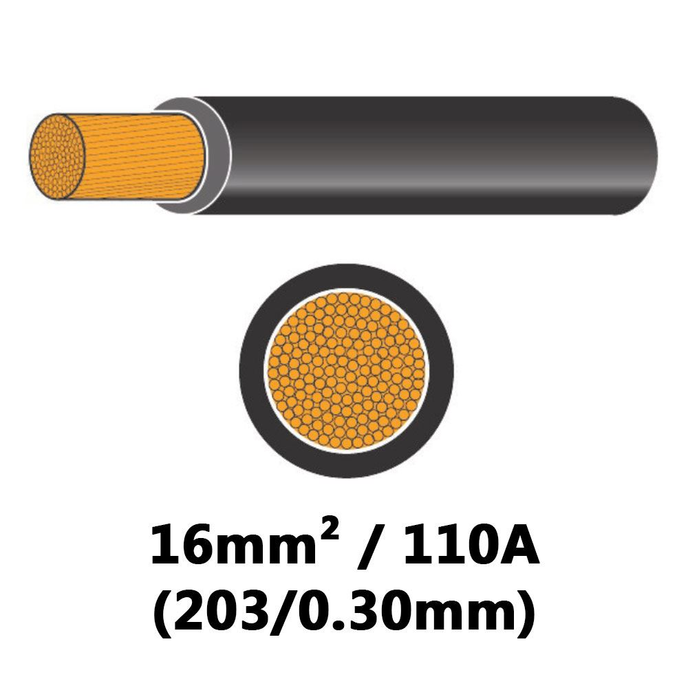 DBG PVC Semi-rigid Battery/Welding Cable 203/0.30 16mm² 110A - BLACK