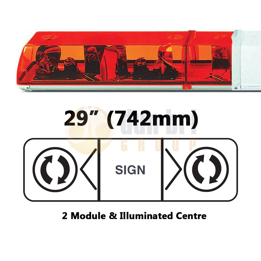 ECCO 702.002 70 Series 742mm AMBER 2 Module ROTATOR Lightbar with Illuminated Centre R65 24V