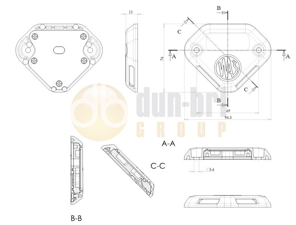 1127 WAS W152 LED Tail Lift Marker Lamp Technical Drawing