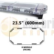 Redtronic FX100AC Low-Profile LPFX 600mm AMBER/CLEAR 8 Module LED Lightbar R65 12/24V