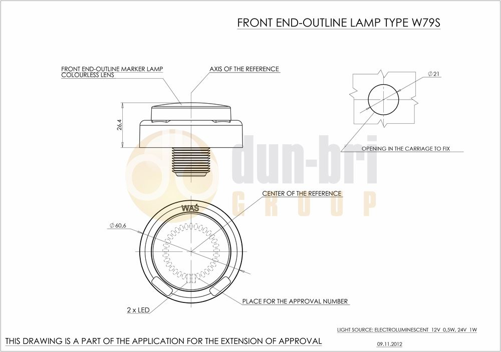 676 WAS W79S LED Front Marker Lamp Technical Drawing