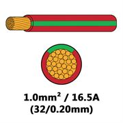 DBG Single Core Thin Wall PVC Auto Cable 1.0mm² (16.5A) - Red/Green