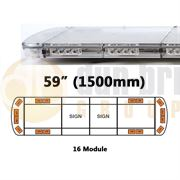ECCO 15L-01329-V 15L Series 1500mm AMBER/CLEAR 16 Module LED Lightbar with Opaque Centre R65 12/24V