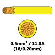 DBG Single Core Thin Wall PVC Auto Cable 0.5mm² (11.0A) - Yellow