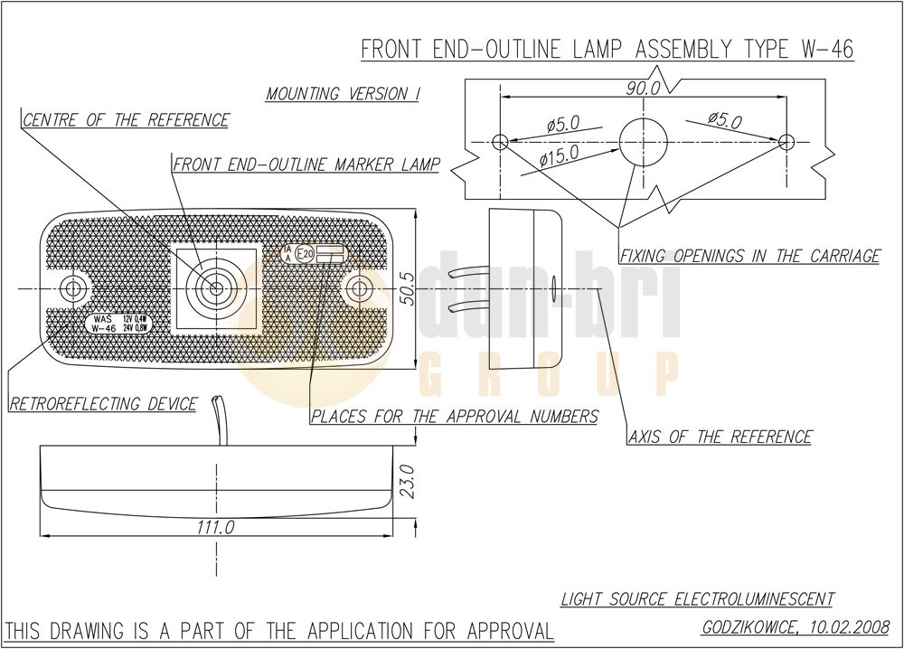 225 WAS W46 LED Front Marker Lamp Technical Drawing