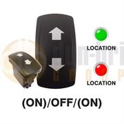 Carling 273.705 V-SERIES CONTURA V Rocker Switch 12V (ON)/OFF/(ON) DP 2xLED GREEN/RED with ARROW (UP & DOWN) Legends