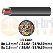 DBG 13 Core Thinwall PVC Automotive Cable 8x 21/0.30 1.5mm² 21.0A / 5x 35/0.30 2.5mm² 29.0A - 10m - 540.4913HT/10B