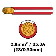 DBG Single Core Thin Wall PVC Auto Cable 2.0mm² (25.0A) - Red/White