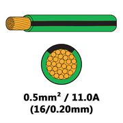 DBG Single Core Thin Wall PVC Auto Cable 0.5mm² (11.0A) - Green/Black