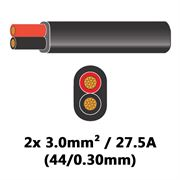 DBG 2 Core Standard PVC Automotive Flat Cable 2x 44/0.30 3.0mm² 27.5A - BLACK (Black/Red) - 100m - 540.4204/100B