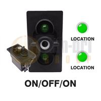 Carling 273.225 V-SERIES Rocker Switch Base 24V ON/OFF/ON SP 2xLED GREEN/GREEN