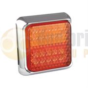 LED Autolamps 100 Series (100mm) Square LED REAR COMBINATION Light Chrome Bezel Fly Lead 12/24V - 100CSTIME