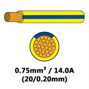 DBG Single Core Thin Wall PVC Auto Cable 0.75mm² (14.0A) - Yellow/Blue