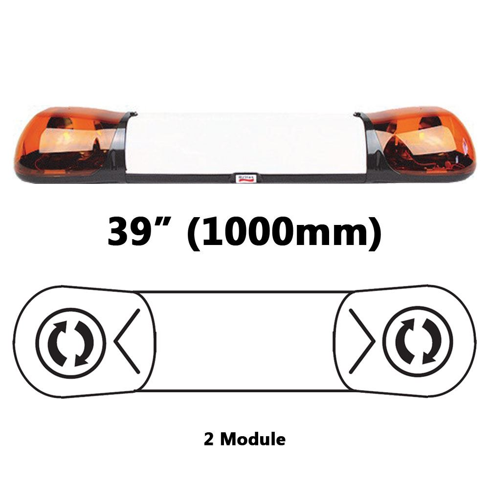 ECCO/Britax A6242.100.12V A6 Series 1000mm AMBER 2 Module ROTATOR Lightbar with Opal Centre R65 12V
