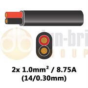 DBG 2 Core Standard PVC Automotive Flat Cable 2x 14/0.30 1.0mm² 8.75A - BLACK (Black/Red) - 100m - 540.4202/100B