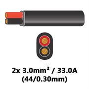 DBG 2 Core Thinwall PVC Automotive Flat Cable 2x 44/0.30 3.0mm² 33.0A - BLACK (Black/Red)