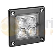 LED Autolamps 7312 Compact Square Recess 4-LED 489lm Reverse/Work Flood Light Black 12/24V - 73120BM