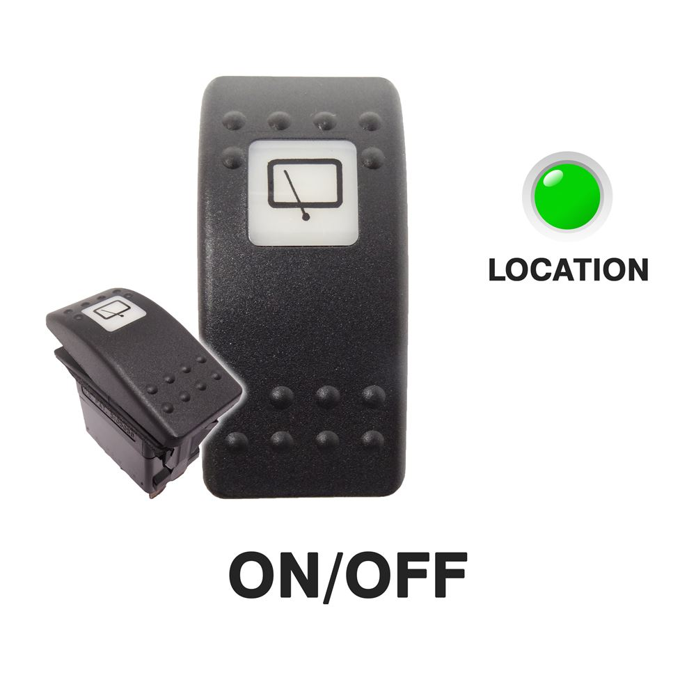 Carling 273.064 V-SERIES CONTURA II Rocker Switch 24V ON/OFF SP 1xLED GREEN with REAR WINDOW WIPER Legend