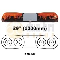 ECCO/Britax A6634.200.LDV A6 Series 1000mm AMBER 4 Module LED Lightbar with Illuminated Centre R65 12/24V