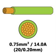 DBG Single Core Thin Wall PVC Auto Cable 0.75mm² (14.0A) - Light Green