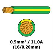 DBG Single Core Thin Wall PVC Auto Cable 0.5mm² (11.0A) - Green/Yellow