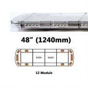 ECCO 15L-01327-V 15L Series 1240mm AMBER/CLEAR 12 Module LED Lightbar with Opaque Centre R65 12/24V