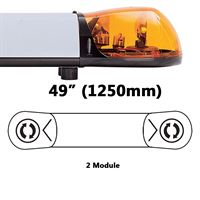 ECCO/Britax A6262.200.24V A6 Series 1250mm AMBER 2 Module ROTATOR Lightbar with Illuminated Centre R65 24V