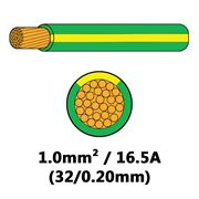 DBG Single Core Thin Wall PVC Auto Cable 1.0mm² (16.5A) - Green/Yellow