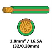 DBG Single Core Thin Wall PVC Auto Cable 1.0mm² (16.5A) - Green/Brown