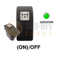 Carling 273.047 V-SERIES CONTURA II Rocker Switch 24V (ON)/OFF DP 1xLED GREEN with ASR OFF ROAD Legend