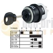 Durite 0-351-55 5 Position (ACCESSORY/OFF/ACCESSORY & IGNITION/PRE-HEAT/START) Ø26mm Ignition Switch with Key