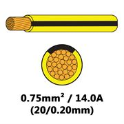 DBG Single Core Thin Wall PVC Auto Cable 0.75mm² (14.0A) - Yellow/Black