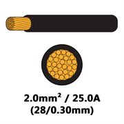 DBG Single Core Thin Wall PVC Auto Cable 2.0mm² (25.0A) - Black