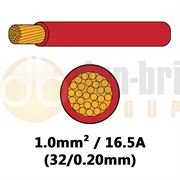 DBG Single Core High Temp Thinwall PVC Automotive Cable 32/0.20 1.0mm² 16.5A - RED - 50m - 540.4102HT/50R