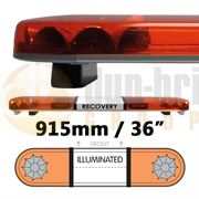 LAP Classic Titan 915mm LED R65 2 Module Amber/Amber Lightbar with Illuminated Opal Centre 12/24V - LB362WA/I