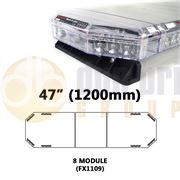 Redtronic FX1109AC Low-Profile LPFX 1200mm AMBER/CLEAR 8 Module LED Lightbar R65 12/24V